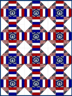 Quilt kit features the Air Force branch of the United States military and includes pre-cut fabric for the quilt blocks with fussy cut center square, a solid red