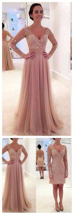 Long sleeve prom dress, detachable prom dress, dusty pink prom dresses, prom dresses 2016, sexy prom dresses, 17041