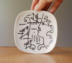 Vintage Jean Cocteau Small Plate  Orpheus w Lyre by DipperVintage, $150.00