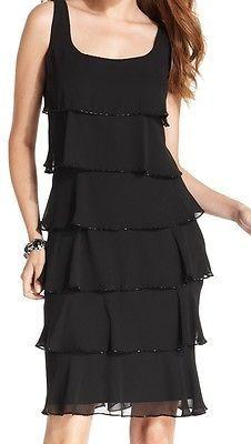 NEW Patra Black Womens Size 6 Chiffon Sequined Tiered Sheath Dress $119 @110