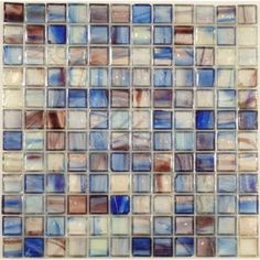Blue 1'' x 1'' Glass Glossy & Iridescent Tile