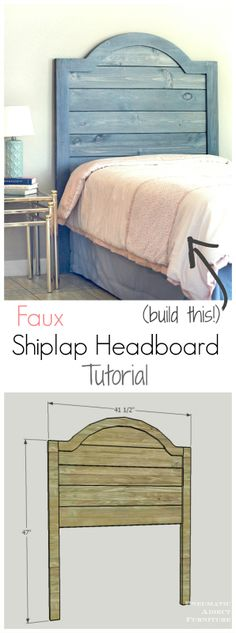 Faux Shiplap Headboard Tutorial Learn how to build a faux shiplap headboard Want fantastic helpful hints concerning arts and crafts? Go to my amazing site! Shiplap Headboard, Diy Headboards, Girls Headboard, Build A Headboard, White Headboard, Headboard Ideas, King Headboard, Diy Furniture Projects, Home Projects