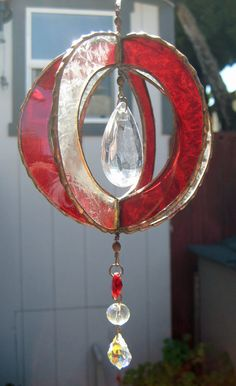 Three Dimensional Clear & Red Stained Glass by JuliaLouiseShop, $20.00