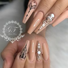 Hippie, boho, bohemian, mandala nail design. Coffin shaped nails with black line lace art and rhinestones art. Beautiful nails by @fiina_naillounge Ugly Duckling Nails page is dedicated to promoting quality, inspirational nails. Tag us and mention what Ugly Duckling products you used for a chance to be featured #nailartaddict #nailswa
