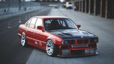 1366x768 Wallpaper bmw, e34, red, cars, side view, sports