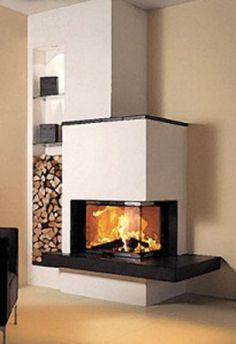 Pre vypracovanie cenovej ponuky na obstavbu nás kontaktujte. Corner Gas Fireplace, Living Room Decor Fireplace, Modern Fireplace, Fireplace Wall, Fireplace Design, Home Living Room, Boston House, Living Place, Foyers