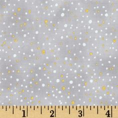 Snowy Peak Metallic Snow Dots Taupe/Gold from @fabricdotcom  From Hoffman California International Fabrics, this cotton print is perfect for quilting, apparel and home décor accents. Colors include black and white with metallic silver accents.