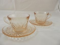 Pink Depression Glass Advertising pieces Urbans Liberty Flour I believe to be from the 1940's. ~ 2 Cups and 2 Saucers Each piece is embossed