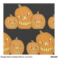 Creepy Jack-o'-Lantern Trio Fabric