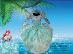 Ariel the little mermaid princess costume dress disguise dressup cosplay ball gown cupcake cheap national glitz pageant contest themed performer party play sweet 16 green bat mitzvah presentation 3 year prom quince quinceanera   Ariel traje vestido disfraz disney sirenita  verde aua presentacion de 3 años boda paje