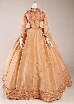 Vestido 1864, francés, hecho de seda