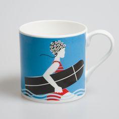 Vintage Surf Fine bone china mug - Olive Augusta £12.95