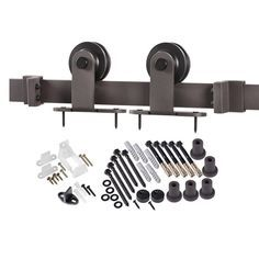 Features: -Includes all mounting hardware. -Anti-jump discs prevent hanger wheels from jumping off track. -Can be used on hollow core or hollow doors. -Requires half an inch of clearance from the