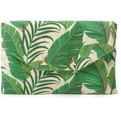 Stella & Dot City Slim Clutch - Natural Green Botanical (64 CAD) ❤ liked on Polyvore