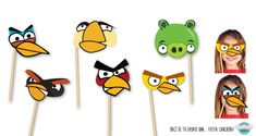 Caretas para photo booth de Angry Birds