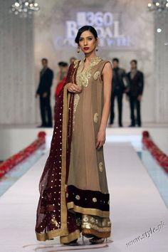 Pakistani fashion designer Deepak Perwani is famous for women dress designing. Deepak presented his latest bridal wear collection in Style 360 bridal couture week Latest Pakistani Fashion, Pakistani Couture, Pakistani Wedding Dresses, Pakistani Outfits, Indian Dresses, Indian Fashion, Indian Suits, Indian Attire, Indian Wear