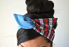 Denim and Red Plaid dolly bow Head band. Made of cotton and denim. Sewn folded about 31 1/2 long with wiring inside for easy adjusting.    **Buy any 3