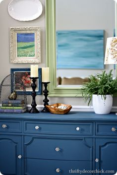 aubusson blue chalk paint dresser. I wonder what it would look like to have a variety of paint finishes in one room?