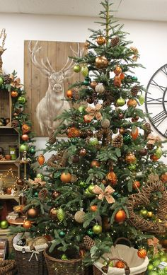 Rustic Tree Design with Pinecones, Natural Elements, Burnt Orange and Green Baubles