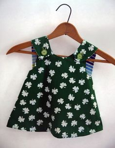 St. Patricks Day Crossover Pinafore Dress - Green Shamrock and Robert Kauffman Remix Fabrics