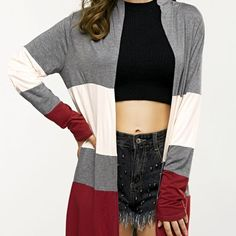 Collarless Loose Long Sleeve Cardigan  $39.00    Type: Cardigans  Material: Spandex  Sleeve Length: Full  Collar: Collarless  Style: Formal  Pattern Type: Patchwork  Season: Fall,Spring,Winter  Weight: 0.269kg  Package Contents: 1 x Cardigan