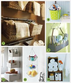 Hang an old toolbox from a couple of coat hooks for quick storage. Similar idea: mount a flower box on the wall.
