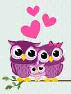 3 purple owls on bench with pink hearts