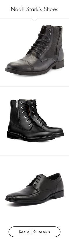 """""""Noah Stark's Shoes"""" by nerdbucket ❤ liked on Polyvore featuring men's fashion, men's shoes, men's boots, men, shoes, black, mens leather shoes, mens black leather boots, mens lace up shoes and robert wayne mens shoes"""