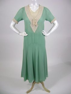 1920s Mint Green Silk Chiffon with Beaded Neckline
