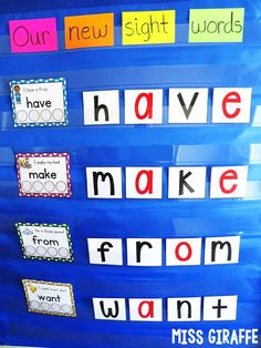 Spelling sight words in the pocket chart center and so many fun ideas for teaching sight words in first grade or kindergarten! Spelling sight words in the pocket chart center and so many fun ideas for teaching sight words in first grade or kindergarten! Word Wall Kindergarten, Preschool Sight Words, Teaching Sight Words, Sight Word Practice, Sight Word Activities, Teaching Kindergarten, Sight Word Wall, High Frequency Words Kindergarten, Reading Games For Kindergarten
