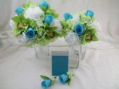 Weddbook is a content discovery engine mostly specialized on wedding concept. You can collect images, videos or articles you discovered  organize them, add your own ideas to your collections and share with other people - Destination Wedding Flowers Pool Blue Wedding Flowers Accented with Green Orchids Makes for a Beautiful Silk Bridal Bouquet Wedding Package