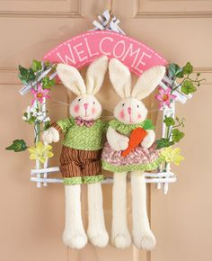 Welcome Easter Bunny Couple Floral Door Wreath