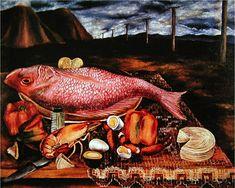 Maria Izquierdo Paintings | Maria Izquierdo- Still Life With Red Snapper, 1946 ( i.imgur.com )