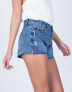 Detail of Frayed Hem Shorts