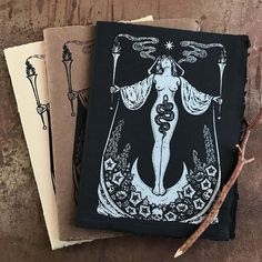 """Poison Apple Printshop on Instagram: """"A black version of the Hecate's Garden Journal will debut in Sunday's Full Moon release at Noon (Eastern Time)! This version is…"""" Paper Making Process, Screen Printing Process, Toned Paper, Medicinal Herbs, Black Linen, Book Of Shadows, Witchcraft, Original Artwork, Moose Art"""