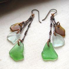 Triple Cascade Sea Glass Earrings, Oxidized Copper, Green, Seafoam and Amber Brown. $45.00, via Etsy.