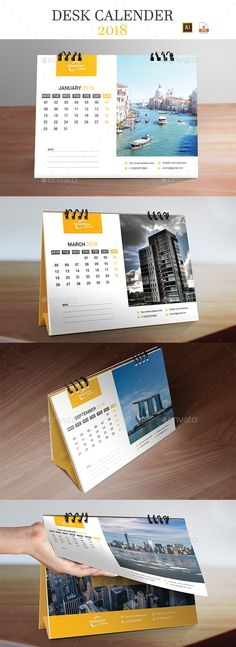 Desk Calendar 2018 - #Calendars #Stationery Download here: https://graphicriver.net/item/desk-calendar-2018/20065261?ref=alena994