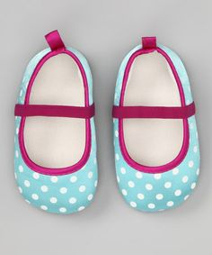 Take a look at this Aqua & Purple Polka Dot Flat by Baby Starters on #zulily today!