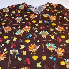 49121467823 Thanksgiving Scrub Top Womens SIze XL Brown Turkeys Pumpkins Nurse  #SBScrubs Cool Stuff For Sale