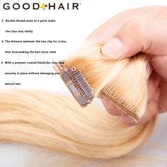 DŮLEŽITÉ VLASY Straight Clip In Human Hair Extensions Non-remy brazilské  vlasy Black Blonde 7ks   set Pieces Hair Weaves 18