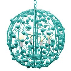 """Celeste pendant features a fun and funky design. Available in white, sea blue (shown), chartreuse, douglas fir, pumpkin blush, pink, gray, forest moss, and stone harbor.  Measures 20""""D x 20""""H."""