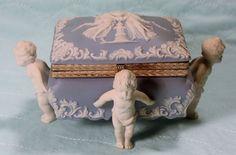 Wedgewood Jasperware Dresser Box in Powder Blue Hinged