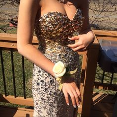 Prom dress In great condition , it's a size 6 with some hemming done on the bottom and towards the butt , it's probably a size smaller , some dirt on the bottom from pictures but other than that it was a beautiful dress that actually stayed up. I'm 5 feet 3 inches if that helps Night Moves Dresses