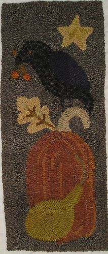 hooked rugs with crows | HAND HOOKED RUG ~ CROW ON PUMPKIN AUTUMN RUG~ | Hooked Rugs, Pillows ...