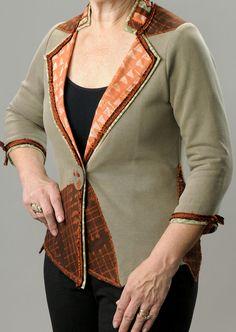 Woman's Sweatshirt Jacket, Tailored Knit Jacket for Women, Lapel Style Ladies Sweatshirt Jacket