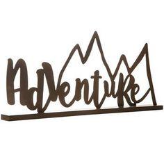 Adventure Metal Word with Mountain Peaks