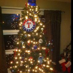 Texas Rangers themed Christmas tree!!