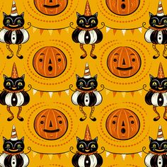 Pumpkin Cat Fabric - Halloween Cats And Pennants By Johannaparkerdesign- Halloween Vintage Kitsch Cotton Fabric By The Yard With Spoonflower Halloween Fabric, Halloween Prints, Halloween Patterns, Halloween Cat, Holidays Halloween, Beistle Halloween, Halloween Tattoo, Halloween Inspo, Halloween Designs