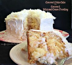 an affair from the heart:  Coconut Cream Poke Cake with Coconut Whipped Cream Frosting #Kraft #BakersCoconut