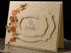 Thanksgiving card for good friend I am late in uploading my Thanksgiving cards. (But I did send on time) Fall Cards, Holiday Cards, Christmas Cards, Scrapbooking, Scrapbook Cards, Leaf Cards, Thanksgiving Cards, Halloween Cards, Creative Cards